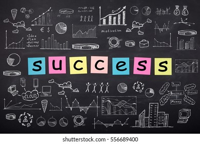 Business concept - word 'Success ', sketch with schemes and graphs on chalkboard