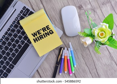 Business Concept with word We're Hiring