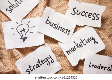 Business concept words on old style background