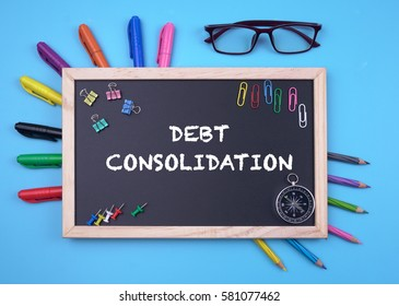 Business Concept writing Debt Consolidation on Blackboard