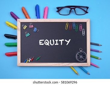 Business Concept writing equity on Blackboard