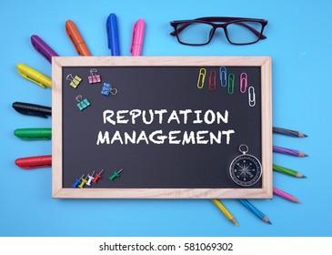 Business Concept writing REPUTATION MANAGEMENT on Blackboard