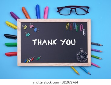 Business Concept writing Thank You on Blackboard