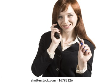 Business concept with young business girl