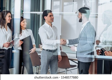 Business concept.Meeting business partners in the office.