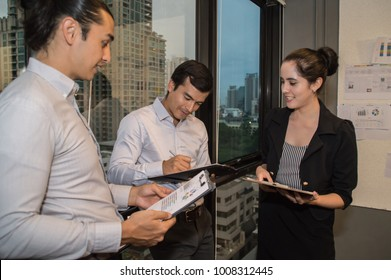 Business Concepts. Businessman is working in office. Business People work happily and relax. The businessmen are serious. Businessmen, they talk and communicate.
