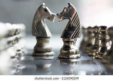 The business conceptual image present chess on board  , the game player plan , thinking and moved win and defeat