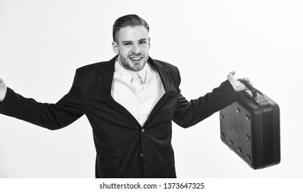 Business conference. Business attributes. Justification for proposed project or expected commercial benefit. Man hold briefcase. Business profit. Commercial offer. Businessman demonstrate briefcase.