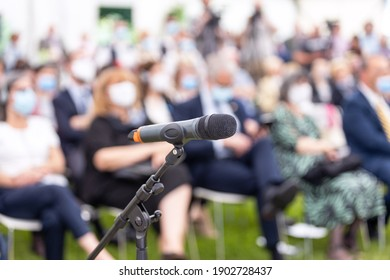 Business conference, corporate presentation or political meeting during COVID-19 disease virus pandemic