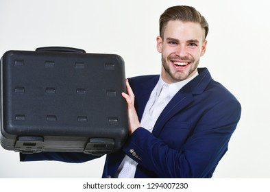 Business conference. Justification for proposed project or expected commercial benefit. Man hold briefcase. Business profit. Commercial offer. Businessman demonstrate briefcase. Business attributes.