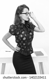 Business conference. Lady seductive business coach. Knowledge is my passion. Woman sexy attractive teacher or lecturer. Business lady smart office manager. Self education concept. Business speaker.