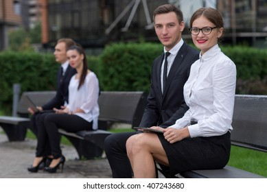 Business confidence. Portrait of motivated business partners. Professionals colleagues at work. Outdoors business concept