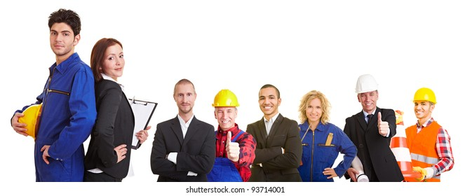 Business and construction team group with workers, architects and engineers