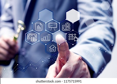 Business consultant with modern virtual technology and blurred hand holding golden key, The key factor is like the person who gives important advice about the business concept.