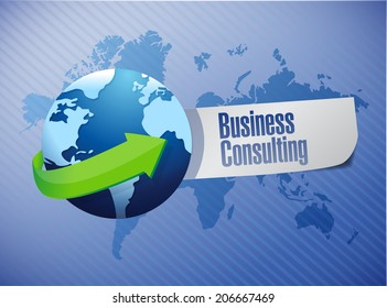 business consulting sign illustration design world map background