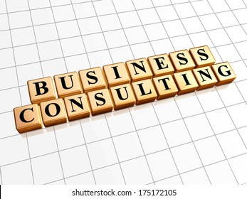 business consulting - text in 3d golden cubes with black letters, management develop concept