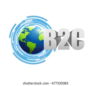 Business to consumer globe technology illustration design graphic