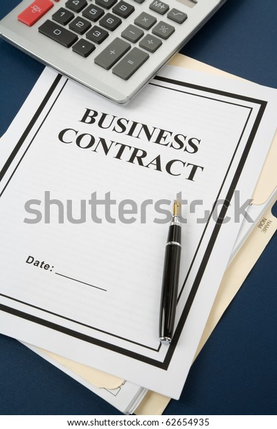 Business Contract Calculator Close Stock Photo (Edit Now