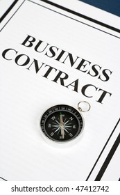 Business Contract and Compass, business concept