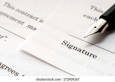 Business contract sheet and fountain pen