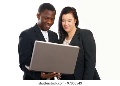 Business conversation with laptop mixed race people