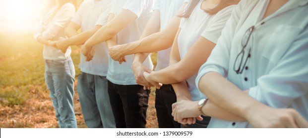 Business Cooperation Relations Strengthen.Charity,Support,Volunteer People, Social. Professional Corporate Business Environment and Achievement. Organization Spirit Initiative. Asian team success.
