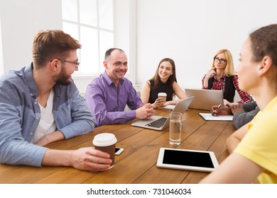 Business corporate meeting of successful team. Office discussion, communication with partners, copy space