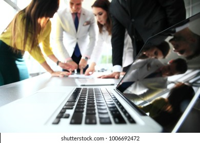 Business Corporate People Working Concept. Business team discussing together business plans