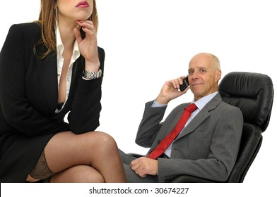 Business couple  isolated against a white background