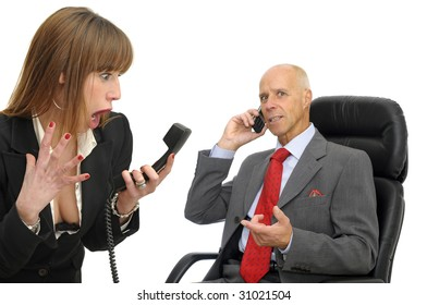 Business couple with phones  isolated against a white background