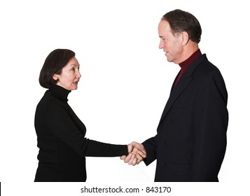 business couple shaking hands over a white background