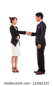 Business couple shaking isolated on white background.