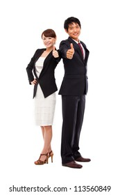 Business couple showing thumb isolated on white background.