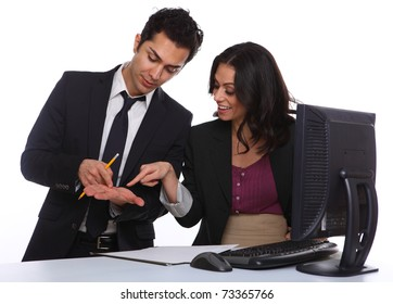 Business couple solving a problem in the office