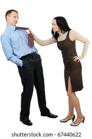 Business couple squabbling against white background