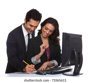 Business couple working with computer isolated on white