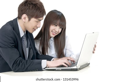 Business Couple working at office, smiling