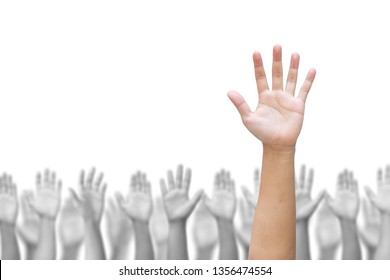 Business crowd raising hands high up on white background. Concept Business / Question / Ask / Idea.