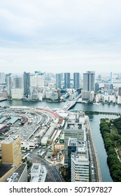 Business and culture concept - panoramic modern city skyline bird eye aerial view of Odaiba bay and bridge under dramatic morning blue cloudy sky in Tokyo, Japan