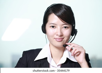 business customer support operator woman smiling