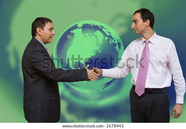 Business deal with blue green global background
