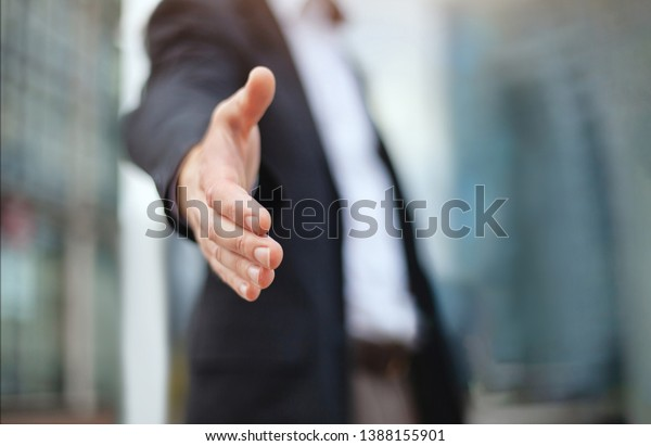 business deal proposal, recruitment, businessman offer hand for handshake and cooperation