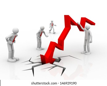 Business decline, Chart going through the floor, 3d business people watching