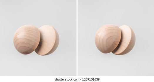 Business & design concept - Abstract geometric real floating wooden half sphere isolated on background, it's not 3D render.
