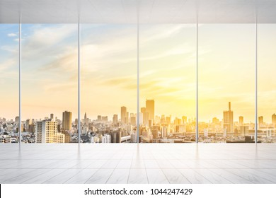 Business and design concept - empty marble floor and window with panoramic modern cityscape building bird eye aerial view of Tokyo, Japan, for display or mock up