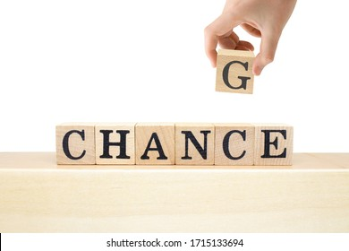Business Development, Career Growth and Change Yourself Concept : Hand holding wooden block and turning the words from change to chance.