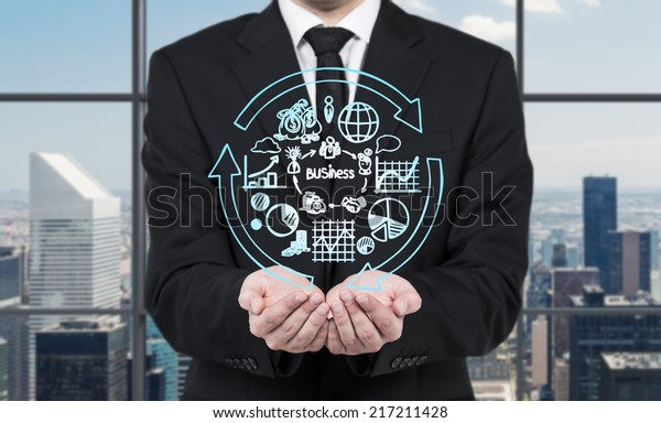 Business development concept, businessman holding flowchart - different stages of business development.