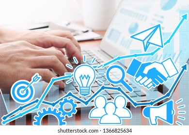 Business development and management concept. Businessman using laptop or preparing reports.