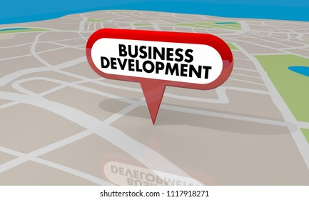 Business Development Map Pin New Company Building Project 3d Render Illustration