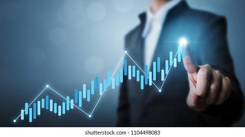 Desarrollo del negocio al éxito y concepto de crecimiento creciente, Businessman señala el gráfico de puntos del futuro plan de crecimiento corporativo